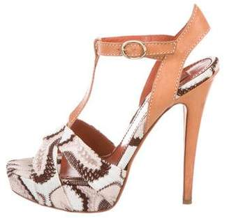 Missoni Leather Ankle Strap Sandals