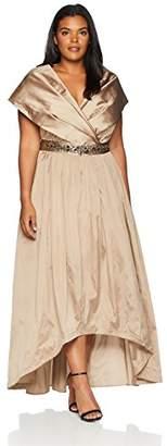 Adrianna Papell Women's Silky Taffeta Shawl Gown