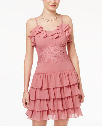 Disney Beauty and the Beast Juniors' Lace-Trim Ruffled Dress $59 thestylecure.com