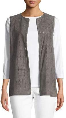 Lafayette 148 New York Genesis Luxuriant Perforated Lamb Suede Vest