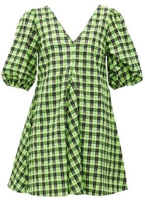 Ganni Checked Cotton Blend Seersucker Mini Dress - Womens - Black Green