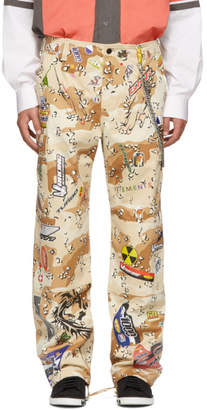 Vetements Beige Camo Sticker Cargo Pants