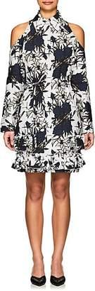 Nina Ricci WOMEN'S FLORAL COTTON CUTOUT-SHOULDER DRESS - WHITE SIZE 40 FR
