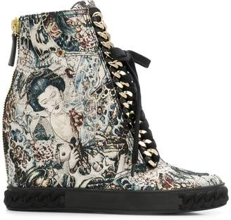 Casadei printed wedge sneakers