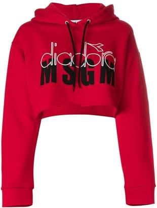 MSGM X Diadora cropped logo hoodie
