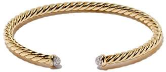 David Yurman 18kt yellow gold Cable Spira diamond cuff bracelet