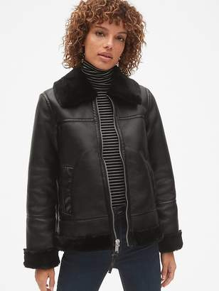 Gap Faux-Fur Trim Moto Jacket