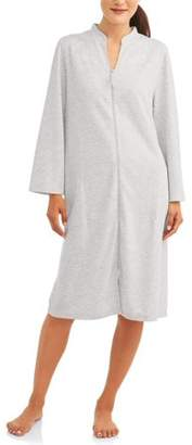 Secret Treasures Women's and Women's Plus Long Sleeve Zip Front Quilted knit Breakfast Gown