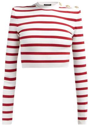 Balmain Striped Cropped Knitted Sweater - Womens - Red White