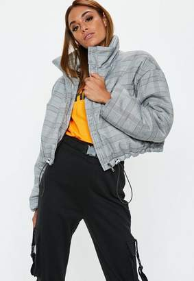 Missguided Gray Plaid Bomber Jacket