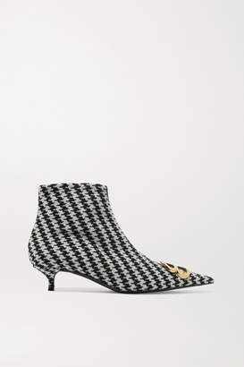 Balenciaga Logo-embellished Houndstooth Tweed Ankle Boots - Black