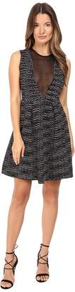 M Missoni Spacedye Sleeveless Dress w/ Sheer V-Neck Panel Women's Dress