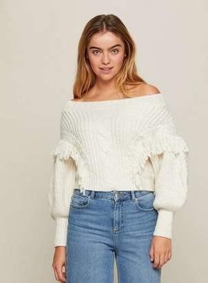 Miss Selfridge Cream tassel cable bardot knitted jumper