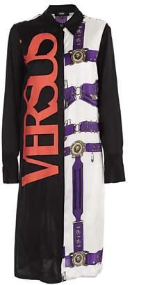 Versace Color-block Printed Shirt Dress