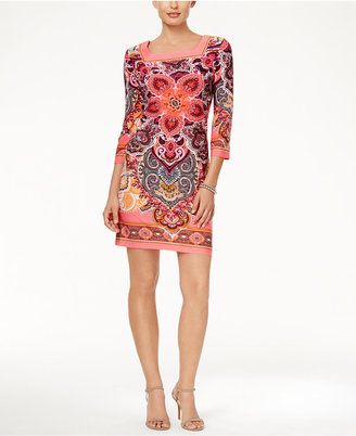Sandra Darren Three-Quarter-Sleeve Medallion-Print Shift Dress $69 thestylecure.com
