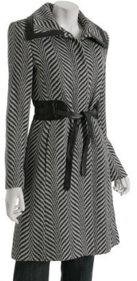 Via Spiga black chevron wool blend 'Merlara' belted coat