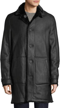 Yves Salomon Men's Lamb Leather Shearling Fur-Lined Coat