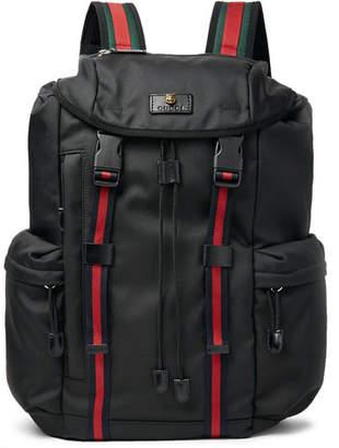 Gucci Webbing-Trimmed Nylon Backpack