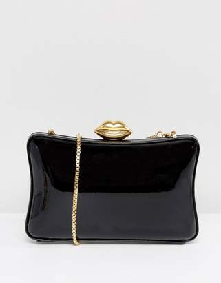 Lulu Guinness Patent Pillow Box Clutch Bag In Black & Gold