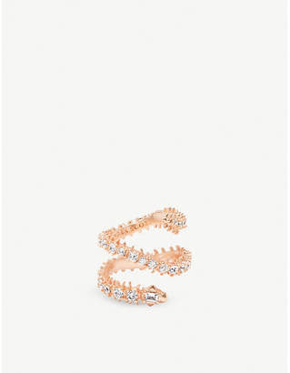 Kendra Scott Beck 14ct rose gold-plated brass and crystal ring