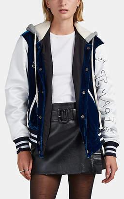 Greg Lauren Women's Embroidered Patchwork Hooded Varsity Jacket - Blue