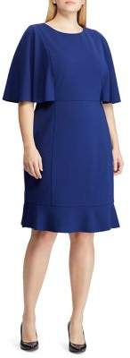 Lauren Ralph Lauren Plus Plus Slim-Fit Flutter-Sleeve Crepe Dress