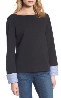 Women's J.crew Built-In Cuff Stripe Tee $49.50 thestylecure.com