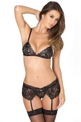 Rene Rofe Women's Sexy Lingerie Peek A Boo Lace Bra Garter & Crotchless Panties (Small/Medium)