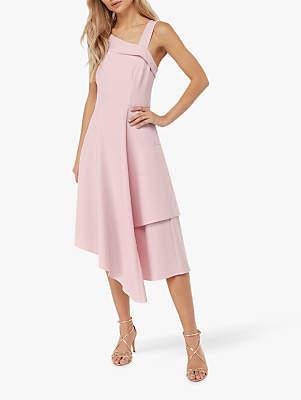 Monsoon Odette Asymmetric Neckline Dress, Pink