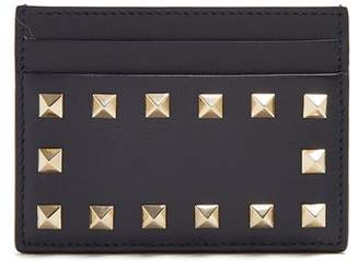 Valentino - Rockstud Leather Cardholder - Womens - Navy