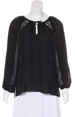 Ramy Brook Silk Lace-Trimmed Blouse