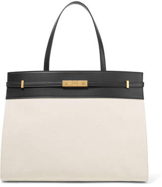 4e3eae8bbd25 Saint Laurent Manhattan Medium Leather-trimmed Canvas Tote - Off-white