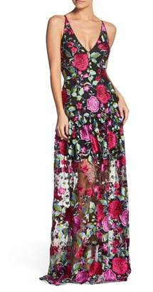 Dress the Population Leticia Plunging Floral Gown