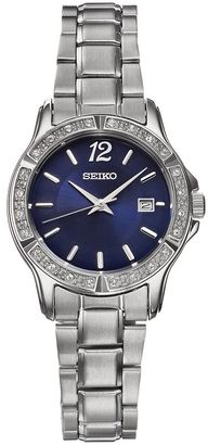 Seiko Women's Crystal Stainless Steel Watch - SUR721 $200 thestylecure.com