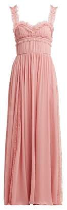 Elie Saab Lace Trimmed Silk Blend Evening Gown - Womens - Light Pink