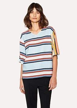 Paul Smith Women's Light Blue Stripe Top With Contrast Sleeve