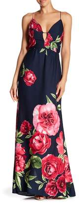 N. Tassels Lace Strappy Lace-Up Floral Print Maxi Dress
