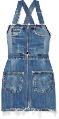 RE/DONE + Levi's Two-tone Distressed Denim Mini Dress