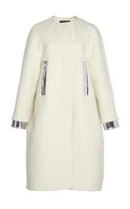 Martin Grant Vegan Leather-Trimmed Wool-Blend Coat
