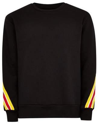 Topman Mens Black Back Taping Sweatshirt