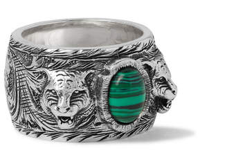 Gucci Burnished Sterling Silver Malachite Ring