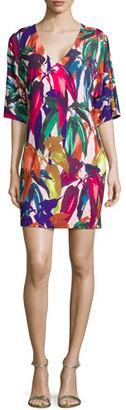 Trina Turk Half-Sleeve Leaf-Print Caftan Dress $298 thestylecure.com