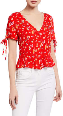 Marion by Etienne Marcel Floral Print Button-Front Tie-Sleeve Top