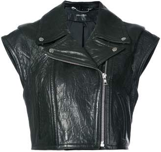 Yigal Azrouel sleeveless boxy leather jacket