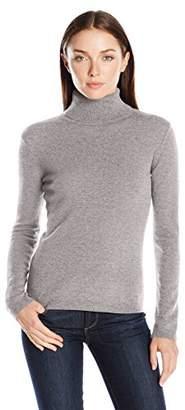 Lark & Ro Women's 100 Percent Cashmere 2 Ply Slim Fit Basic Turtleneck Sweater