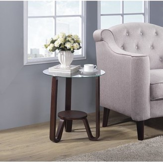 ACME Furniture Acme Darby End Table in Dark Walnut and Clear Glass