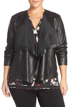 Sejour Drape Collar Leather Jacket (Plus Size) $379 thestylecure.com