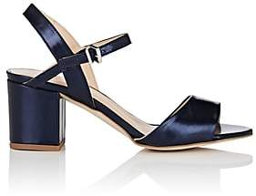 Barneys New York WOMEN'S METALLIC LEATHER ANKLE-STRAP SANDALS-NAVY SIZE 7