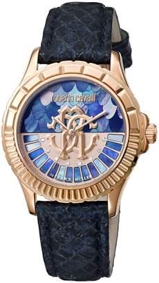 Roberto Cavalli LOGO DIAL Women's Swiss-Quartz Blue Leather Strap Watch