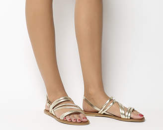 Office Swirl Asymmetric Strap Sandals Gold Leather